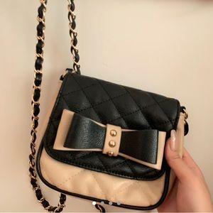 Adorable black, beige&gold crossbody purse w/bow